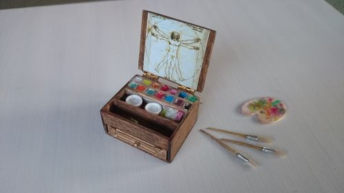 AC125-Antique wooden watercolors box